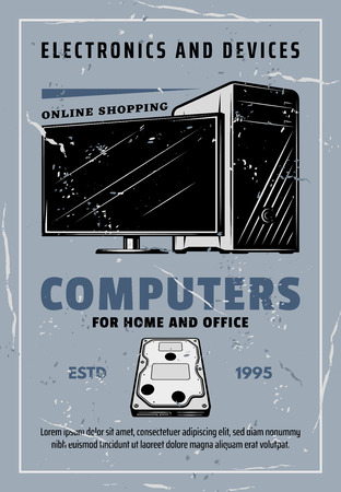 Electronic devices and smart appliances retro poster for online shopping advertisement. Vector vintage design of PC desktop computer and monitor display with HDD hard drive or data storage Иллюстрация