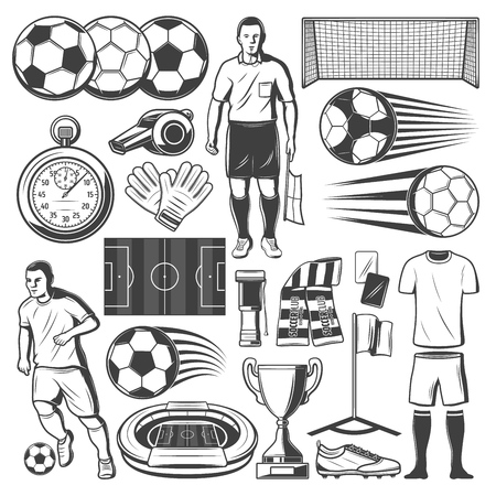 Soccer or football player sport items. Vector icons of football ball, soccer goalkeeper or referee and game stopwatch with whistle, arena stadium and championship winner cup Ilustração