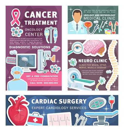 Cardiology, neurology or urology and nephrology clinic posters and banners. Vector medical design for cardiac surgery, cancer treatment and neural spine or brain disease and oncology diagnostics Illustration