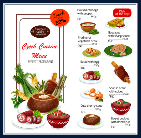 Czech cuisine traditional food menu. Vector lunch offer discount for braised cabbage with pepper, sausages with sharp sauce or vegetable stew and egg salad, bread or cold cherry soup or sweet cookies