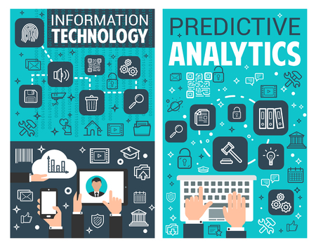 Information technology and web search predictive analytics posters. Vector internet cyber security and web cloud or data sharing technology for user browser and data encryption
