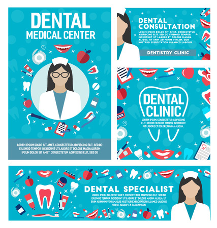 Dental clinic posters and banners for dentistry medical center. Vector dentist doctor, teeth treatments and pills, implants and orthodontic medical braces, smile tooth shine with toothpaste