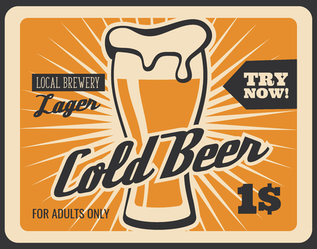 Cold beer retro advertisement poster for brewery bar or fast food bistro menu. Vector vintage yellow design of lager or draught craft beer in glass with foam froth and dollar price