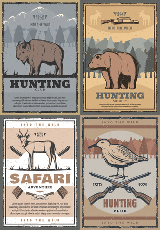 Hunting club retro posters for hunt open season or African safari adventure. Vector vintage design of wild buffalo animal, forest bear or antelope and grouse bird with hunter rifle guns and knifes