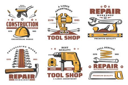 Herramientas de construcción y reparación de viviendas dibujan iconos para la casa. Vector de carpintería martillo o sierra, destornillador o tornillos y clavos, paleta y pincel o taladro eléctrico para carpintería
