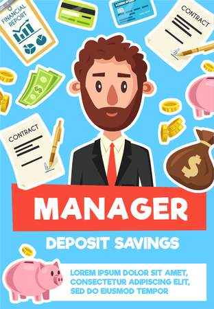 Manager or businessman profession poster. Vector cartoon man boss or office or bank worker with business items of piggy bank for deposit savings, money wallet or bills and credit card with documents