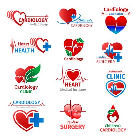 Medicina cardiológica, grupo médico cardiólogo o clínica de salud cardíaca e iconos del instituto de investigación. Diseño vectorial de píldoras de tratamiento de pulso cardiograma o cruz de farmacia y hoja verde Logos