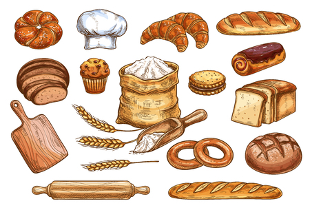 Bakery sketch bread or pastry and baker chef items. Vector icons of flour sack bag and dough or cutting board and baker hat, wheat ears with loaf and rye bagel or chocolate croissant and baguette Banque d'images - 110288595