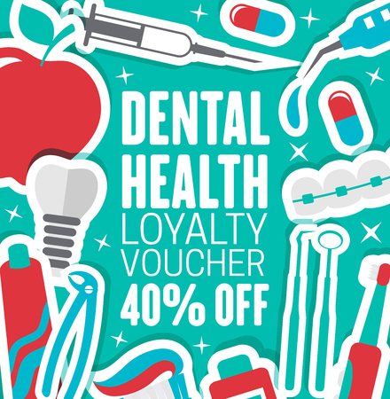 Dental clinic discount voucher for dentistry medical center. Vector advertisement flyer design of dentist implants and orthodontic braces, apple or smile and pills or toothbrush for white smile teeth
