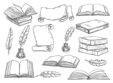 Old vintage books, retro ink quill pens and manuscripts sketch icons. Vector isolated set vintage book, writer writing stationery and inkwell for literature or bookstore design