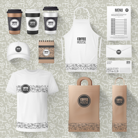 Cafe or cafeteria merchandise and advertising materials mockups. Vector 3D coffee cup, ashier or waiter t-shirt and cap, paper bag or apron and receipt design with cofeehouse brand name