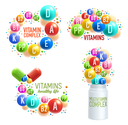 Vitamins and multivitamin complex 3D pills, capsules and plastic bottles for healthy life and dietary supplements package design. Vector vitamins and mineral pills splash for pharmacy advertisement Illustration