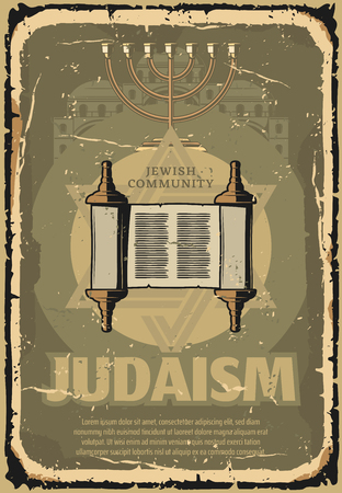Judaism retro poster of Jewish symbols. Vector vintage design of Sefer Torah scroll, Menorah candle lampstand for Hanukah and David star for rabbi synagogue or Jew religious community