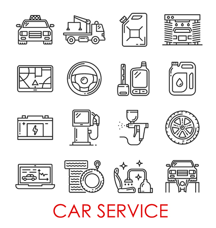 Car service thin line art icons. Vector isolated set of taxi car, wrecker truck or petrol canister and auto wash, navigation map and steering wheel, accumulator, battery or tire and car alarm key