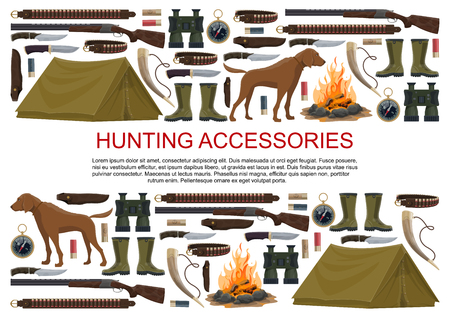 Hunting equipment and hunter accessories poster. Vector icons of hunt dog, camping tent or rifle gun and carbine with arbalest crossbow, compass and binoculars or hunting trap for wild animals Illusztráció