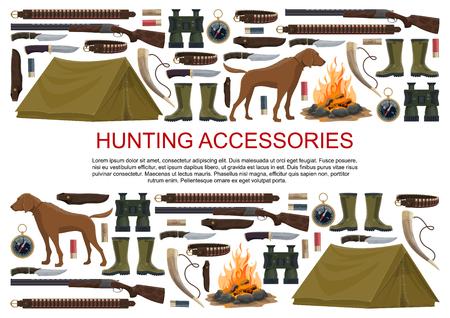 Jagdausrüstung und Jägerzubehör Poster. Vektorsymbole von Jagdhund, Campingzelt oder Gewehrpistole und Karabiner mit Arbalest-Armbrust, Kompass und Fernglas oder Jagdfalle für wilde Tiere Vektorgrafik