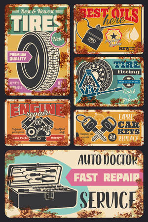 Car service and auto center cards with vintage rust effect. Vector retro rusty posters design for car engine oil service, tire fitting or pumping and mechanic repair or spare parts store