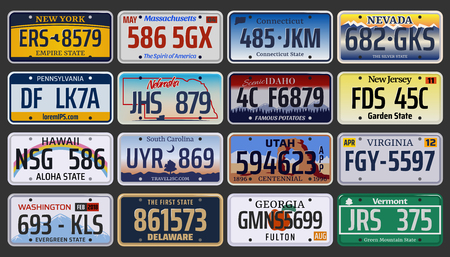 Vehicle registration number plates of American states and city. Vector set of car license number plate from New York, Pennsylvania or Washington and Hawaii, Idaho or Virginia and New Jersey region
