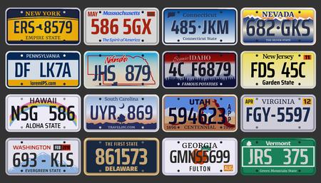 Tablice rejestracyjne pojazdów amerykańskich stanów i miast. Wektor zestaw tablic rejestracyjnych samochodu z regionu Nowy Jork, Pensylwania lub Waszyngton i Hawaje, Idaho lub Virginia i New Jersey