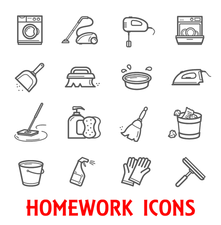 Household and homework thin line icons for home cleaning and washing. Vector set of mop, vacuum cleaner or iron and washing machine with kitchen dishwasher, mirror or window polisher and water bucket