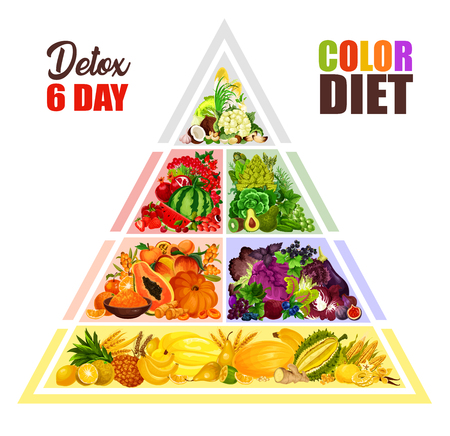 Color diet and 6 days detox program for healthy eating. Vector design of vegetarian vegetables, fruits and vegan nuts of cabbage, broccoli or watermelon and apple, coconut or hazelnut and salads Illustration