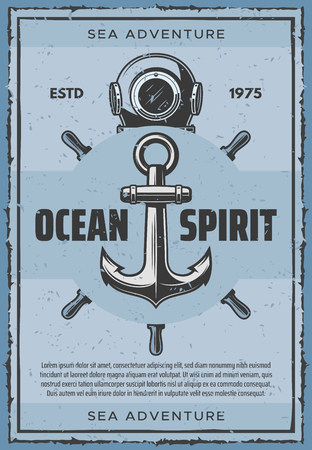 Ship anchor vintage nautical poster for seafarer sailing. Vector retro design of aqualung and captain helm for sailor ocean and sea adventure spirit