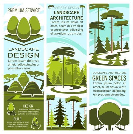 Green landscape design and nature architecture banners for landscaping and gardening company. Vector parkland garden or park trees for outdoor urban horticulture