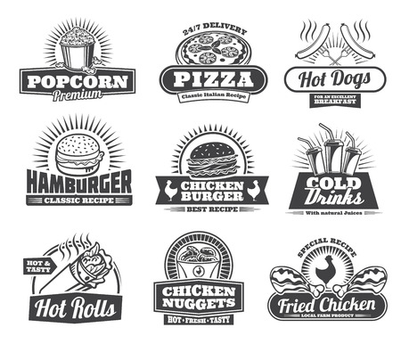 Fast food retro icons of fastfood meals and snacks or drinks for cafe, restaurant or bistro menu. Vector popcorn, pizza or hot dog sausage, hamburger or cheeseburger and soda or coffee drink