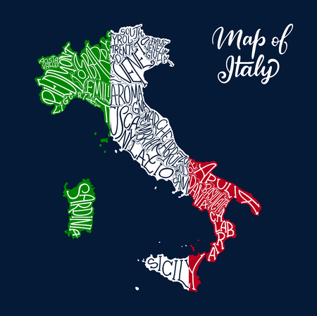 Italy map of regions and provinces names in sketch lettering. Vector Italian flag of Sicily peninsula, Sardinia island or Venice Piemonte, Lombardia or Genoa and Alto Adige, Trentino and Toscana