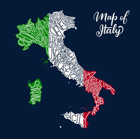 Carte de l'Italie des noms de régions et de provinces en lettrage de croquis. Drapeau italien de vecteur de la péninsule de Sicile, l'île de la Sardaigne ou Venise Piemonte, Lombardie ou Gênes et Alto Adige, Trentin et Toscane Vecteurs