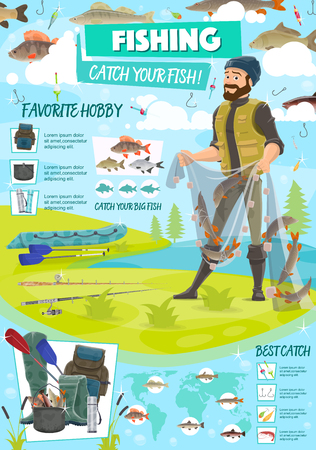 Sport fishing poster with fisherman holding net with fish. Equipment for hiking and camping, backpack and rubber boots. Perch and trout, carp and herring, bait and hook, inflatable boat vector