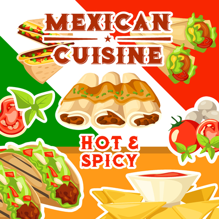 Mexican hot and spicy cuisine poster with dishes from Mexico. Enchiladas and taco, burrito and nachos, sandwiches with beans and tomatoes, mushroom and greenery. Exotic food and meals vector Çizim