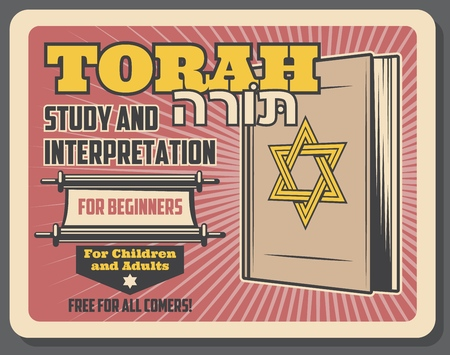 Jewish religion study and holy Torah interpretation courses for Judaic community children and adults. Vector advertisement retro poster of Torah scroll book with Magen David star Stock Illustratie