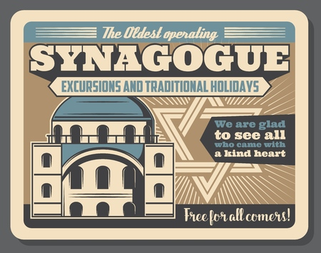 Jewish culture and synagogue visit for excursion or traditional Judaic holidays. Vector advertisement retro poster retro design of synagogue building with David star and Hebrew scrip Illustration