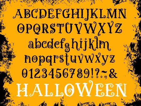 Police d'Halloween de l'alphabet abc de dessin animé. Vector vieux bouclés dessinés à la main ou grunge calligraphie rétro ensemble de lettres, chiffres et symboles spéciaux en majuscules et minuscules pour les vacances d'Halloween