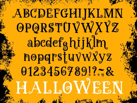 Halloween font of cartoon abc alphabet. Vector old curly hand drawn or grunge calligraphy retro set of letters, numbers and special symbols on uppercase and lowercase for Halloween holiday