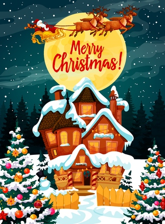 Santa Claus on poster with Merry Christmas wish. Harness with deers flying over house in snow among decorated Xmas trees. Snowman and wooden fence, full moon in night sky above forest vector Ilustração
