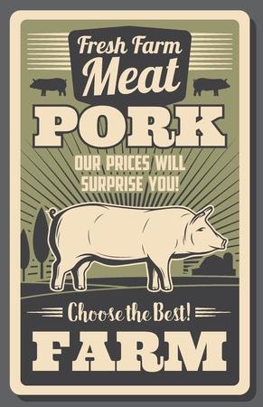 Cartel de granja de carne con cerdo. Cerdo gordo cultivado en rancho, folleto vintage de productos de carnicería orgánica. Folleto retro de alimentos naturales de origen animal rural con animales de ganado con pezuñas