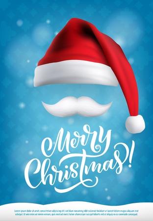 Carte de voeux avec souhait de joyeux Noël, bonnet de Noel et moustache blanche. Affiche de vacances de nouvel an ou d'hiver avec coiffe en tissu et fourrure. Accessoire festif et neige avec vecteur de signe de félicitations Vecteurs