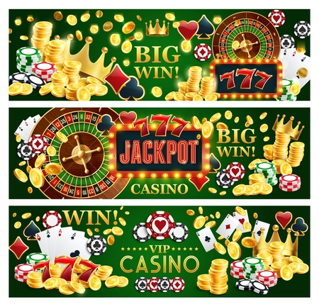 Online casino jackpot gamble game banners, Internet gambling. Vector of poker playing cards, money golden coins and roulette wheel, slots and gold crown. Chips to make stakes or bet and win Illustration