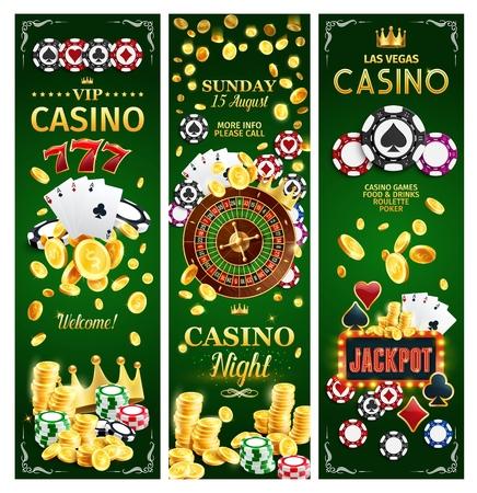 Casino jackpot gokspel met risicobanners voor online gokken. Vector van poker speelkaarten met pakken, geld en roulettewiel, slots en gouden kroon. Chips en gouden munten om inzetten te maken en te winnen