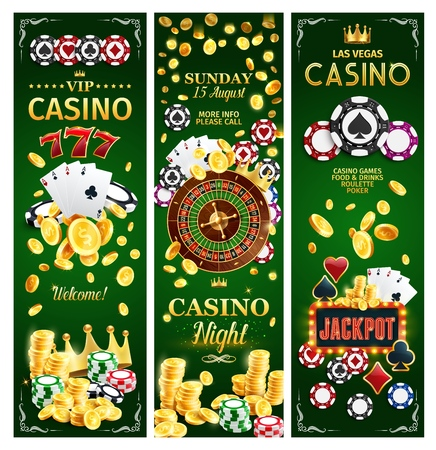Casino jackpot gamble game with risk banners for online gambling. Vector of poker playing cards with suits, money and roulette wheel, slots and gold crown. Chips and gold coins to make stakes and win