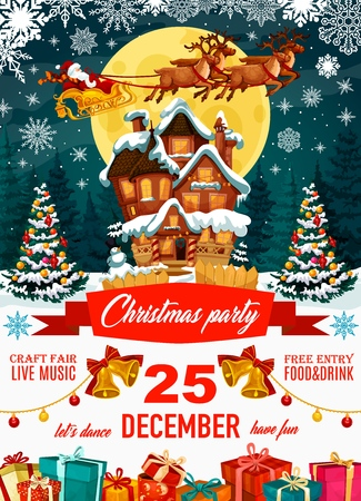 Santa Claus on poster for Christmas party with craft fair and free entry. Harness with deers flying over house with snow on roof among Xmas trees, jingle bells with garlands and gift boxes vector