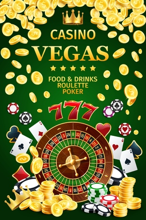 Roulette casino online Internet poster with color gambling chips and poker game cards. Aces with spades, hearts, diamonds and clubs on suits. Gold coins and crown, sevens from slot machine vector