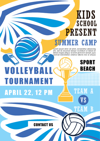 Volleyball sport poster for school summer camp tournament. Ball and whistle, gold trophy cup and wings. Team game championship among kids or pupils, match announcement or invitation brochure vector Stock Illustratie