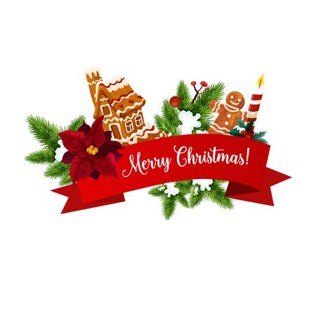 Weihnachtsplätzchen und Neujahrsgirlanden-Grußkarte. Weihnachtsbaum und Stechpalmenzweig mit Lebkuchenmann, festlicher Kerze und Schneeflocke, Ingwerkekshaus, Schnee- und Bandbanner mit Grußwünschen