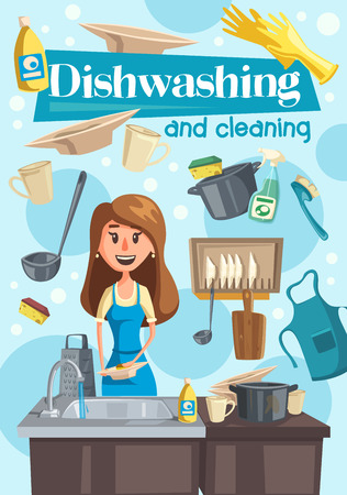 Washing dishes and cleaning with housewife near sink. Woman wearing apron, pan and cup in kitchen, dish soap and sponge, rubber glove and plates. Household chore, house cleaning vector