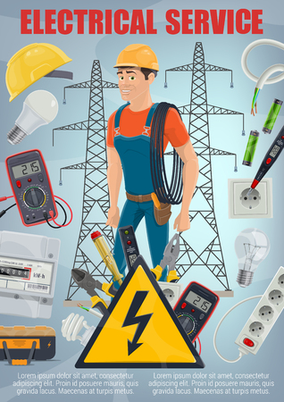 Electrical service and electricity repair work poster with electrician in overalls and tools. Power socket and wire, helmet and pliers, plug and measurement devices. Light bulb and batteries vector