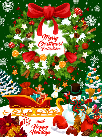 Christmas winter holidays greeting card with Xmas wreath and gift. Snowman with Santa sleigh and New Year presents, Christmas tree and holly berry garland with ribbon bow, snowflake and Xmas bell