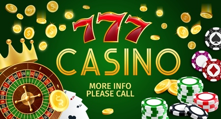 Online casino gamble game banner, Internet gambling. Vector of poker cards or aces, golden coins and roulette wheel, slots and gold crown. Chips to make stakes, earn easy money by risking